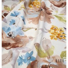 Metraj draperie si tapiterie in stil provensal crem cu maro si albastru