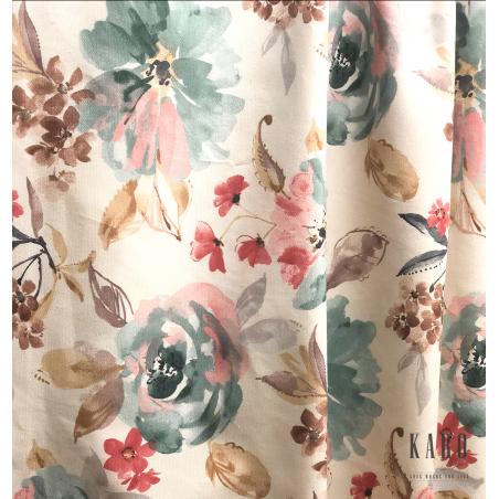 Metraj draperie si tapiterie bumbac crem cu turcoaz si roz inchis