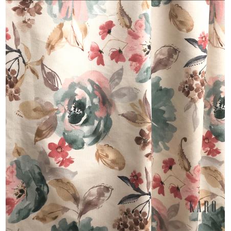 Metraj draperie si tapiterie in stil provensal crem cu maro si rosu