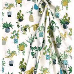 Metraj draperie bumbac model cu ghivece de flori verzi pe fond alb