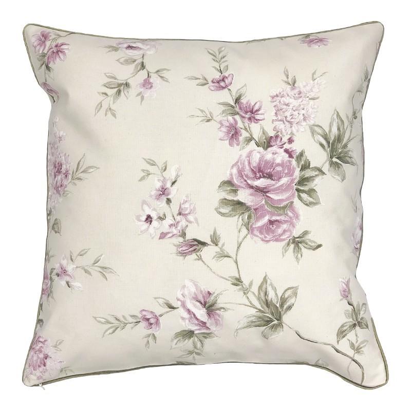 Perna decorativa bumbac cu design floral lila pe fond ivoire