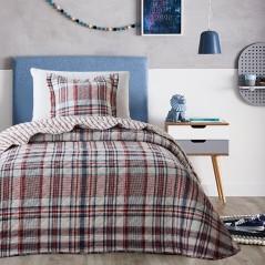 Set cuvertura de pat in carouri cu o fata de perna Depinti