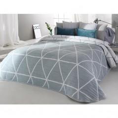 Cuvertura de pat cu fata dubla si design geometric gri