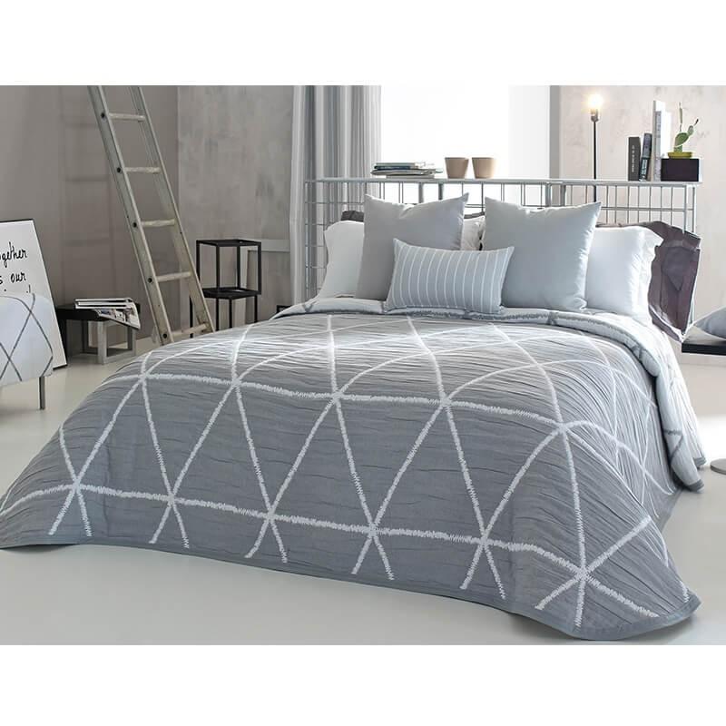 Cuvertura de pat cu fata dubla si design geometric gri inchis