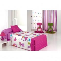 Cuvertura de pat pentru fete cu printese Candy 02 roz cu alb