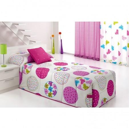 Cuvertura de pat pentru fete cu cercuri colorate Candycor 02 roz cu alb