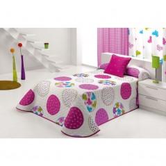 Cuvertura de pat pentru fete cu cercuri colorate Candycor 2P roz cu alb