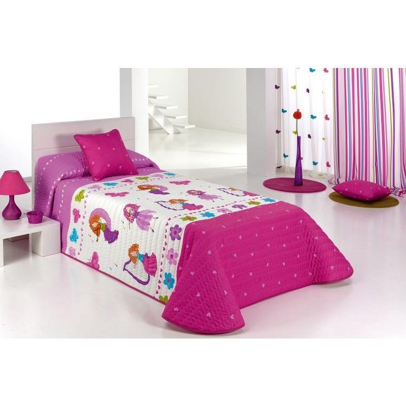 Cuvertura de pat pentru fete cu printese Candy 2Z roz cu alb