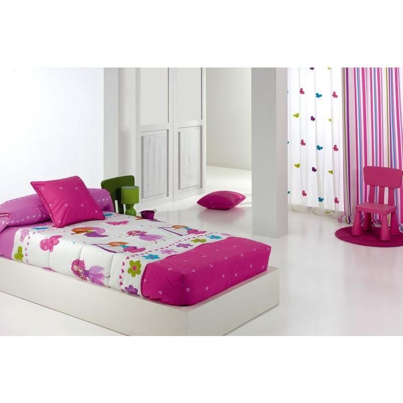 Cuvertura de pat pentru fete cu cercuri colorate Candyao roz cu alb