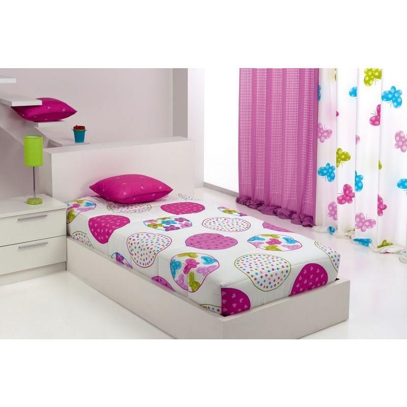 Cuvertura de pat pentru fete cu cercuri colorate Candycor AO roz cu alb
