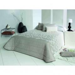 Cuvertura de pat matlasata Edgar cafeniu cu alb