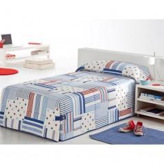 Cuvertura de pat baieti cu dungi si stelute Patch 02 alb cu albastru