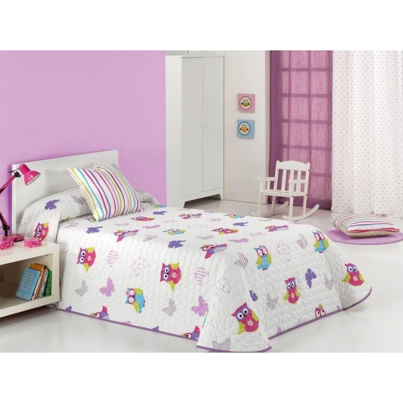 Cuvertura de pat pentru fete cu bufnite Lala 2P alb cu mov