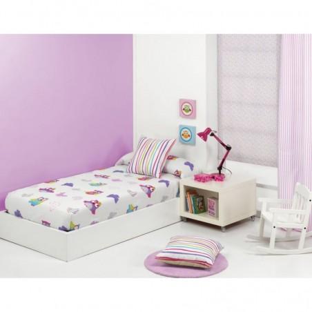 Cuvertura de pat pentru fete cu bufnite Lala AG alb cu mov