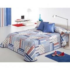 Cuvertura de pat baieti cu dungi si stelute Patch 2P alb cu albastru