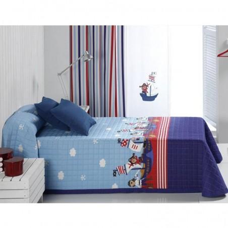 Cuvertura de pat baieti cu pirati Piratas 2Z albastru cu bleu