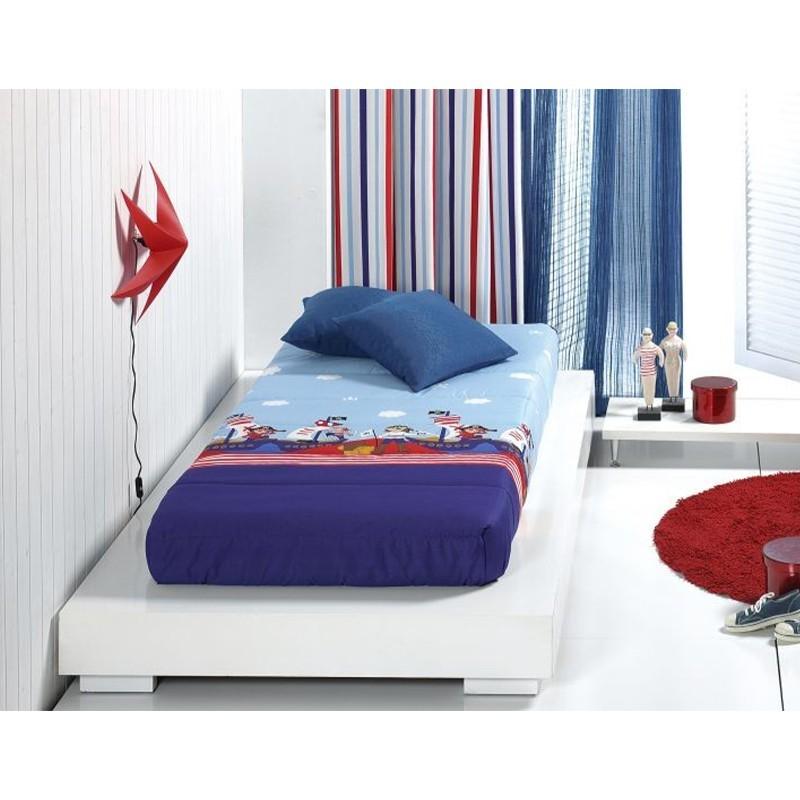 Cuvertura de pat baieti cu pirati Piratas AO albastru cu bleu