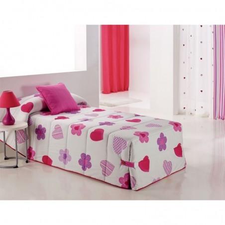 Cuvertura de pat cu flori si inimioare Wendyco 02 roz cu mov pe fond alb