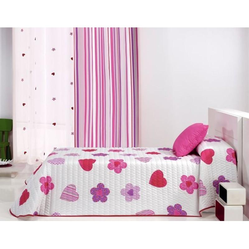 Cuvertura de pat cu flori si inimioare Wendyco 2P roz cu mov pe fond alb