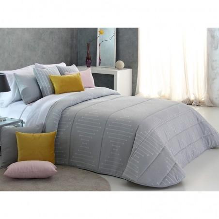 Cuvertura de pat eleganta cu design geometric gri