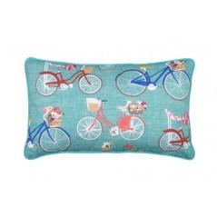 Perna decorativa turcoaz cu doua fete - flori si biciclete