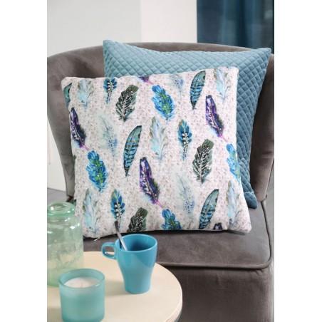 Perna decorativa din velur cu imprimeu albastru