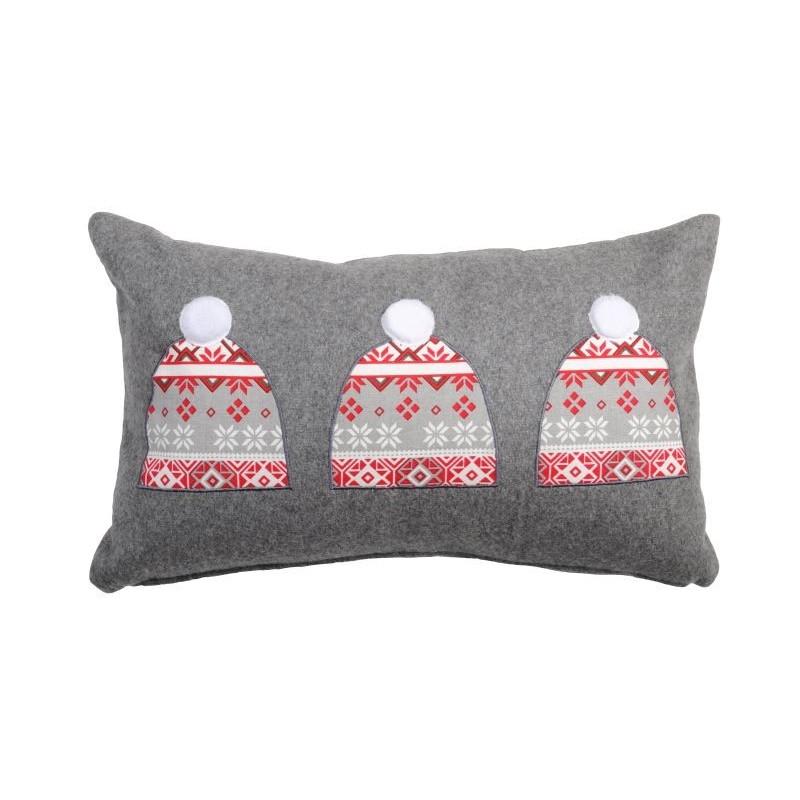 Perna decor gri din lana cu caciulite