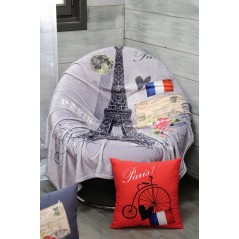 Patura pufoasa gri Paris cu turnul Eiffel