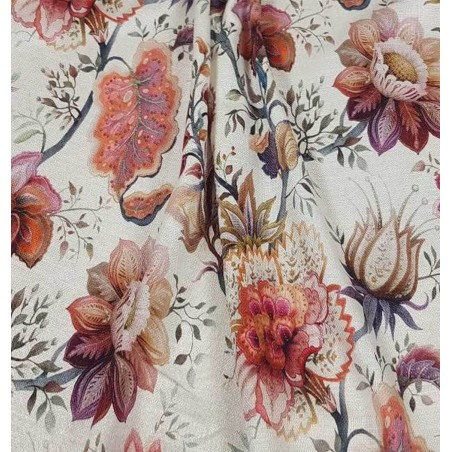 Metraj draperie din in cu motive florale in nuante aramii