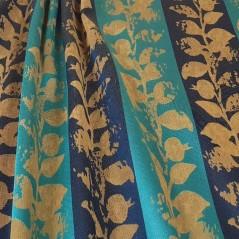 Metraj draperie cu model floral si dungi late turcoaz cu albastru