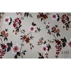Metraj draperie bumbac cu flori grena si albe pe fond neutru Fontaine 1