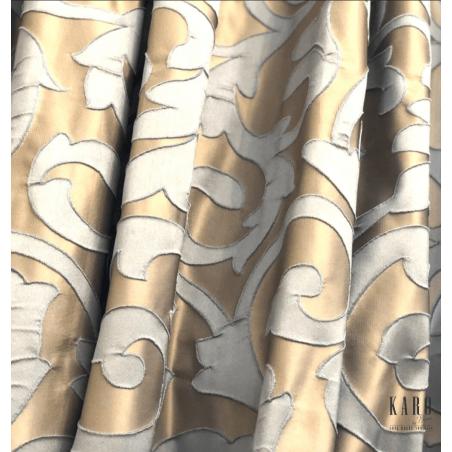 metraj draperie jacquard design abstract bej auriu cu bleu deschis