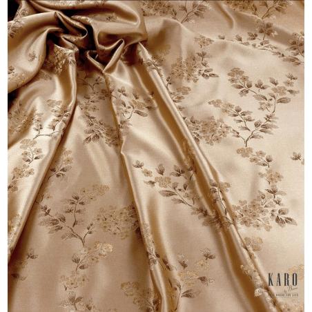 Metraj draperie cu motive florale maro auriu pe fond bej satinat