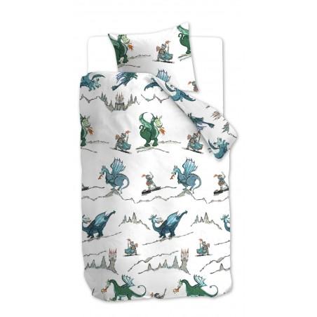 Lenjerie de pat bumbac pt copii cu dragoni