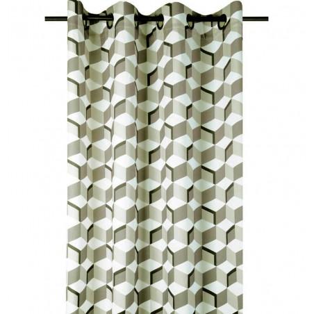 Draperie bej bumbac confectionata cu inele Stairs 135x250 cm