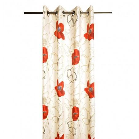 Draperie bumbac cu flori rosii confectionata cu inele Appoline crem