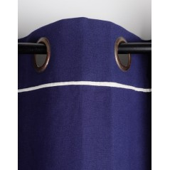 Draperie din bumbac albastra confectionata pe inele