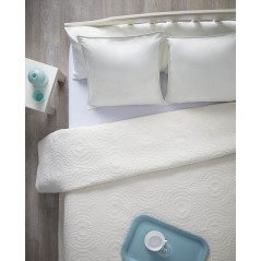 Cuvertura de pat din bumbac model cu cercuri Aitutaki ivoire
