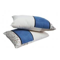 Set 2 perne decorative crem cu albastru