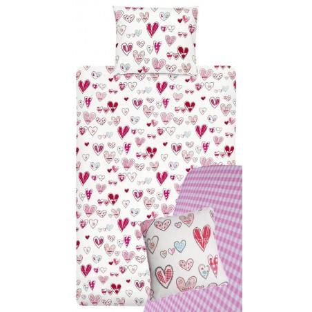 Lenjerie de pat pentru fetite cu inimioare Pretty Hearts