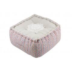 Puf podea natur cu roz model Mandala