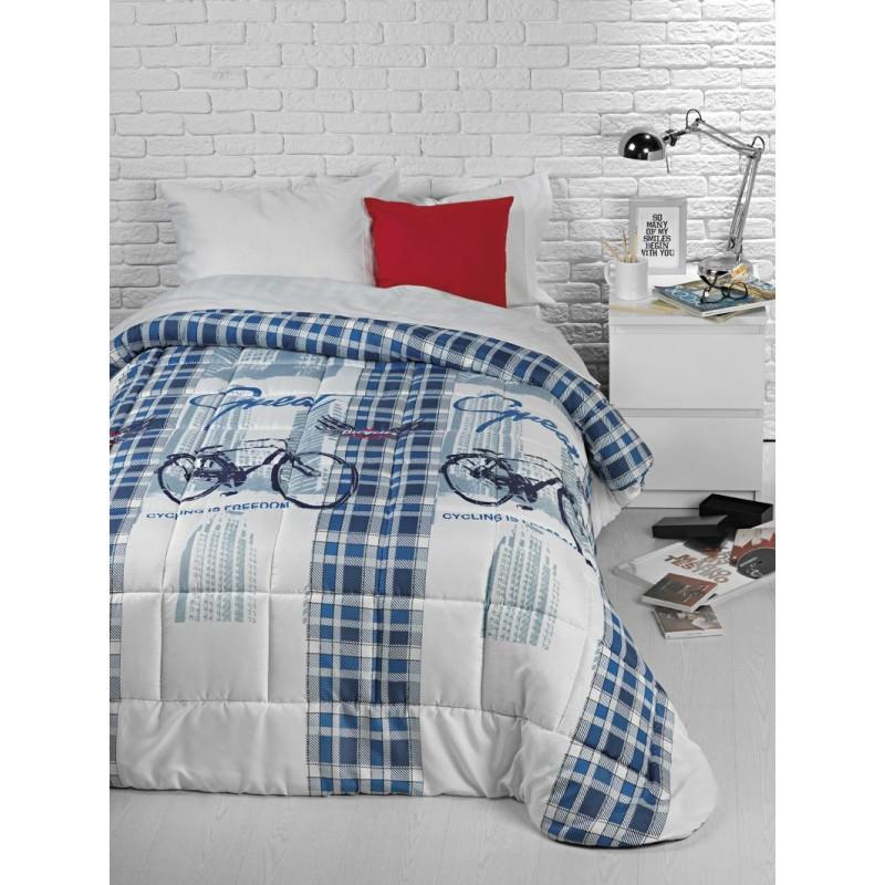 Cuverturaded pat cu biciclete albastru cu alb