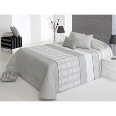 Cuvertura de pat imprimeu geometric gri cu alb Emet