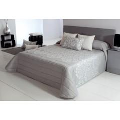 Cuvertura de pat eleganta model floral gri cu alb Tenor