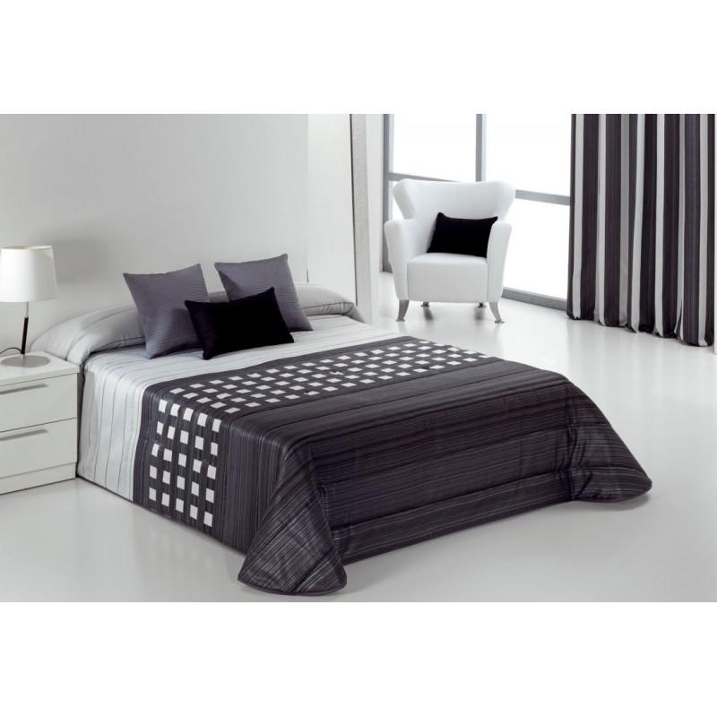 Cuvertura de pat gri cu alb cu patratele Tomeo