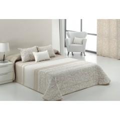 Cuvertura de pat cu model elegant Turli bej deschis cu alb