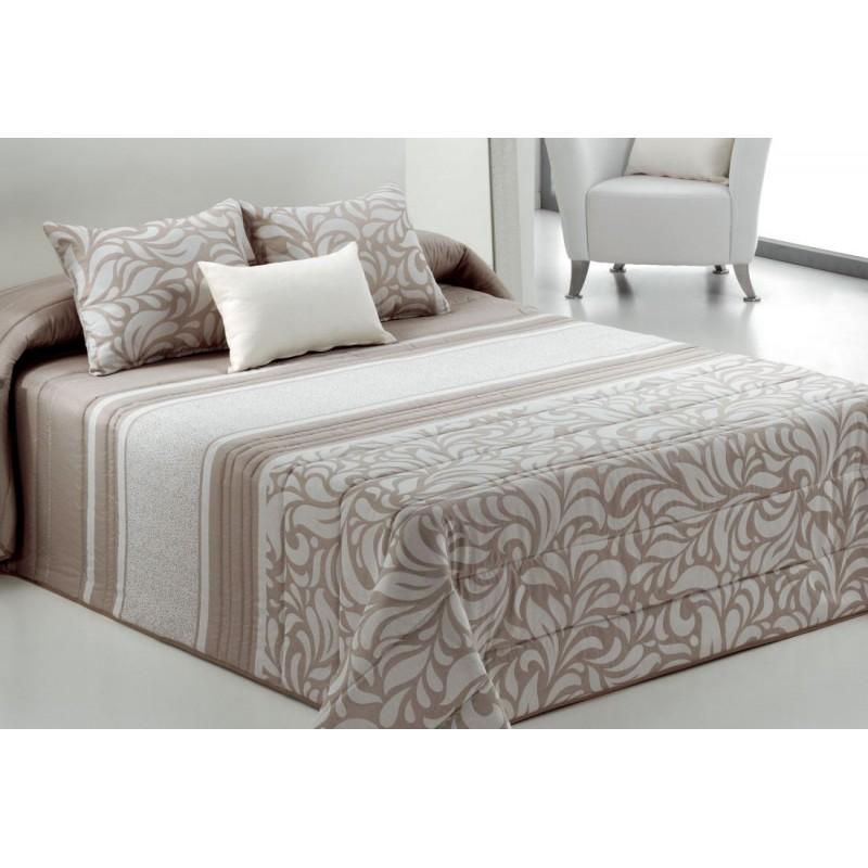 Cuvertura de pat cu model elegant Turli bej inchis cu alb