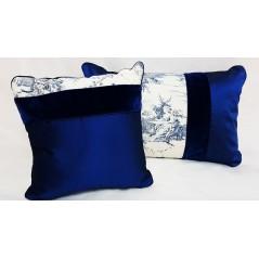 Set 4 perne decorative elegante albastru cu alb