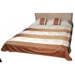 Set cuvertura de pat matlasata crem cu maro si 2 perne decorative + 1 cuvertura de pat matlasata mov CADOU!