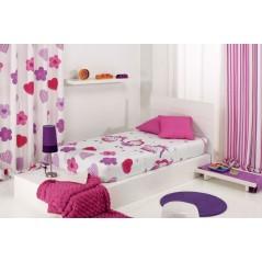 Cuvertura de pat pentru fete cu printese Wendy AO roz cu alb